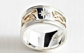 North Star and Triquetra Ring Silver with 10 K Gold and Diamond By Celtic Artist Keith Jack