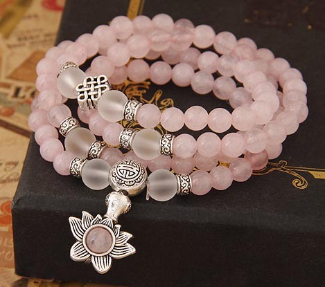 Rose Quartz 108 Bead Gemstone Mala with Lotus and Eternity Knot