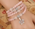 Rose Quartz 108 Bead Gemstone Mala with Lotus and Eternity Knot - DDRQ