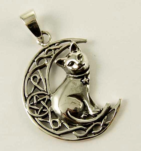 Silver Celtic Cat Pentacle Pendant by Lisa Parker