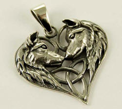 Silver Wolf Heart Triquetra Pendant by Lisa Parker