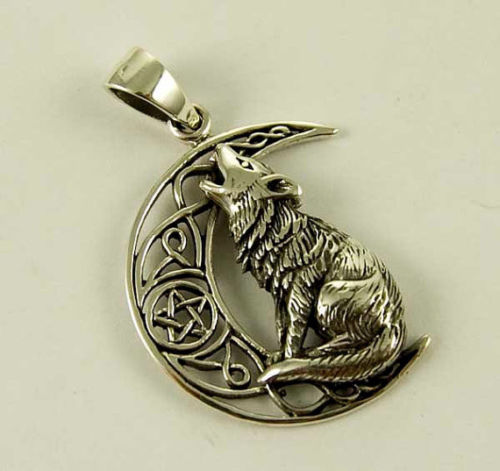 Silver Wolf Totem Pentacle Celtic Pendant by Lisa