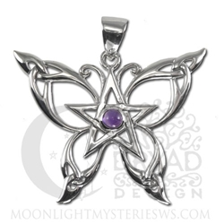 Sterling Silver Butterfly Pentacle Pendant with Amethyst or Rainbow Moonstone