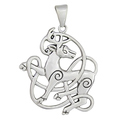 Sterling Silver Celtic Stag Pendant by Dryad Designs