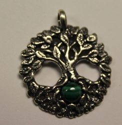 Sterling Silver Celtic Tree of Life Pendant w/ Malachite