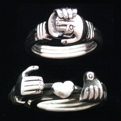 Sterling Silver Heart in Hands Ring
