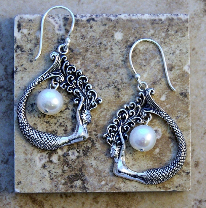 Sterling Silver Mermaid Teardrop Earrings with Pearl Accent