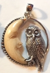 Sterling Silver Owl and Carved Moon Pendant