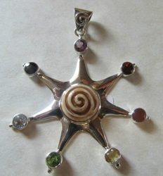 Striking Sterling Silver Spiral Sun Pendant with Chakra Stones