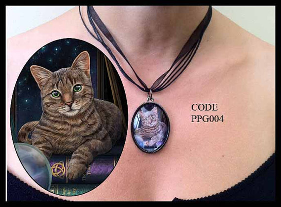 Tabby Cat with Book of Shadows Glass Choker Necklace by Lisa Parker