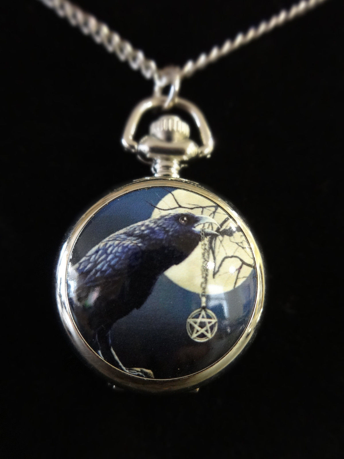 """The Talisman"" Raven Pentacle Pocket Watch Necklace"