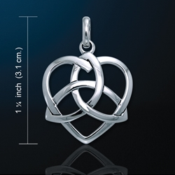 Trinity in Heart Triquetra Pendant in White Bronze