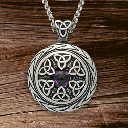 Triquetra Pendant with Amethyst Charmed Symbol with chain