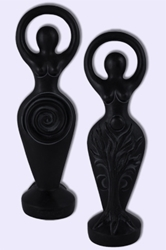 "Two-Sided Black Spiral Goddess 7 3/4"" statue"