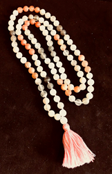 White, Peach and Gray Moonstone Meditation 108 Bead Mala White, Peach and Gray Moonstone Meditation 108 Bead Mala