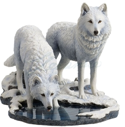 Winter Warriors Two Wolves Statue by Lisa Parker