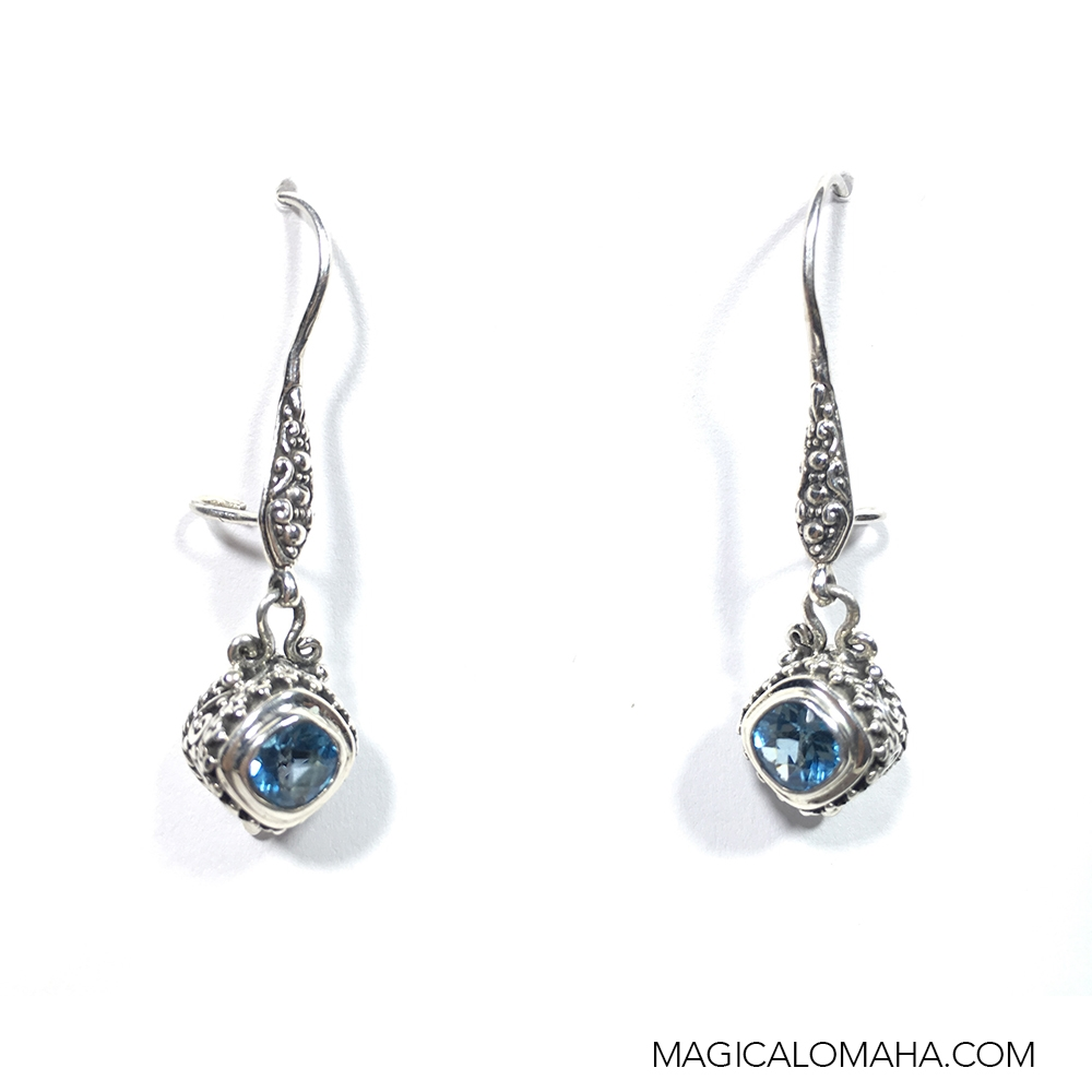 copy earrings products with french silver sterling topaz earwires blue swiss