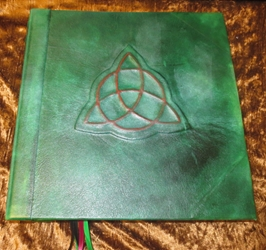 Handcrafted Leather Book of Shadows Wicca Blank Triquetra Charmed Symbol