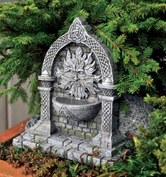 "Celtic Green Man miniature Fountain 6"" H"