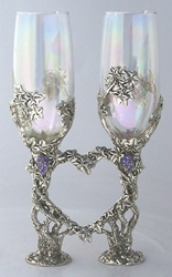 Crystal Vine Heart Pewter Glasses