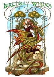 Garden of the Fire Drake Birthday Card by Briar