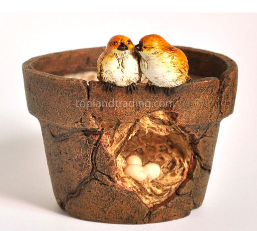 "Lover Birds & Nest Flower Pot H: 3.25"" W: 3.5"""