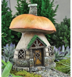 "Fiddlehead Fairy Village - Mushroom Cottage 7"" H"