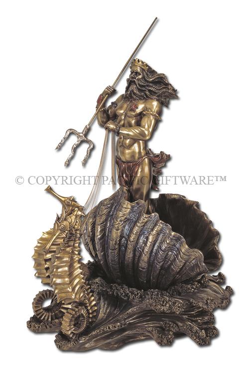 7915 poseidon on seahorse chariot 7915 - Poseidon statue greece ...