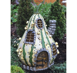 Fairy Garden Miniatures Resin Fairy Village - Striped Gourd Fairy Home