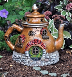 "Fairy Village - Tea Pot Fairy House 8"" H"