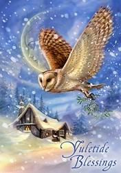 Snow Bringer Yule Card Owl Card by Anne Stokes