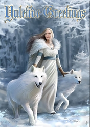Winter Guardians Yule Card by Anne Stokes