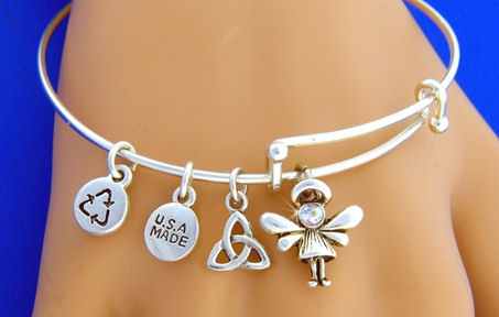 """Adorable Abigail Angel Girl "" Trinity Knot Charm Bangle Bracelet"