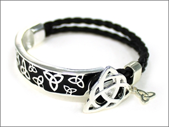 Circle of Life Leather Triquetra Bracelet