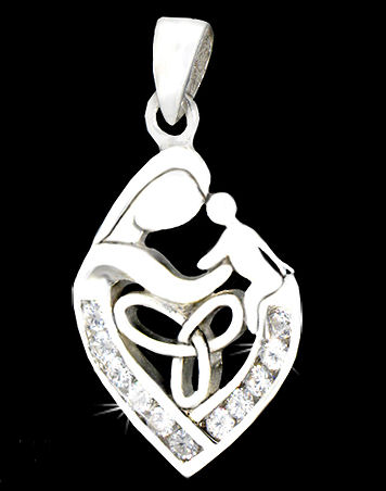 Sterling Silver Celtic Mother and Child CZ Pendant