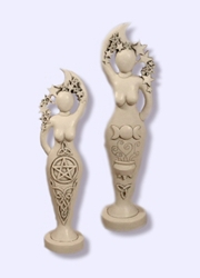 Two-Sided Pentacle/Triquetra Goddess Statue by Abby Willowroot Two-Sided Pentacle/Triquetra Goddess Statue by Abby Willowroot