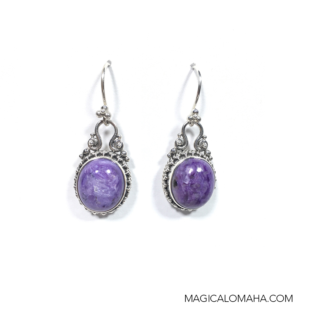 sterling silver charoite earrings by sarda srada chea