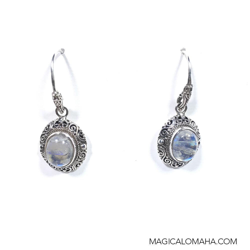 sterling silver rainbow moonstone earrings by sarda