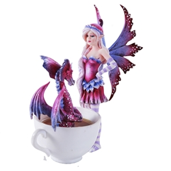 Amy Brown Cup Fairy with Dragon Figurine    Amy Brown Cup Fairy with Dragon Figurine, Fairy Dragon Cup Statue