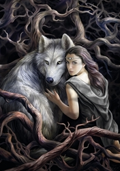 Anne Stokes SOUL BOND  Dragon Wolf and Woman Card      Anne Stokes SOUL BOND  Dragon Wolf and Woman Card