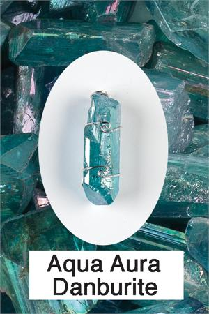 Aqua Aura Danburite Pendant Enhancing psychic capacities