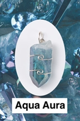 Aqua Aura Quartz Wire Wrapped Pendant  Mental power, clear speaking