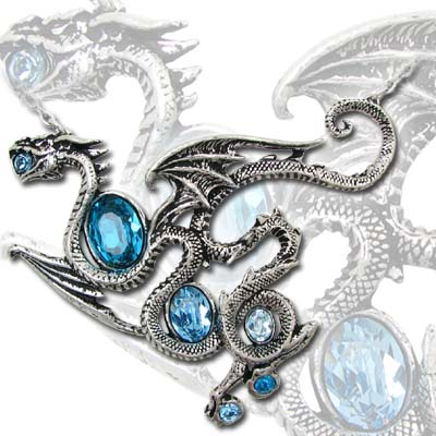 Aqua Dragon Necklace by Alchemy Gothic