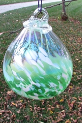 Beautiful Olde English Witchball with Mother of Pearl Luster - Green