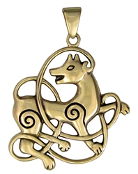 Bronze Celtic Wolf Pendant by Dryad Designs