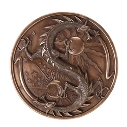 Bronze Double Dragon Alchemy Plaque By Maxine Miller