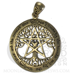 Bronze Extra Large Cut Out Tree Pentacle Pendant ZPD208