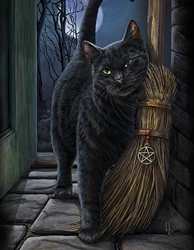 Brush with Magic Canvas Art Print by Lisa Parker Brush with Magic Canvas Art Print by Lisa Parker, black cat and broom, witches familiar