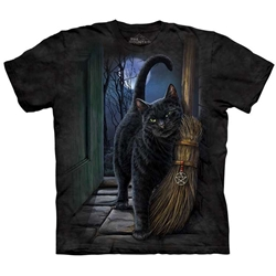 Brush with Magic Cat with broom and pentacle T-Shirt by Lisa Parker