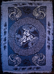 CELTIC RAVEN TAPESTRY AFGAN THROW by Artist Jen Delyth